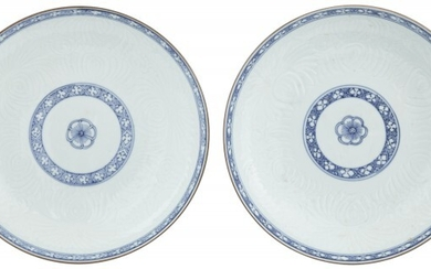 A Pair of Chinese Blue and White Porcelain Molded Dishes