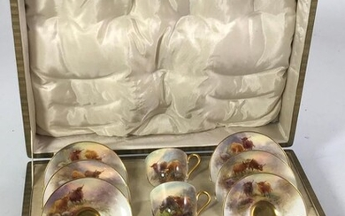 A ROYAL WORCESTER BOXED COFFEE SET FOR 6 HAND...