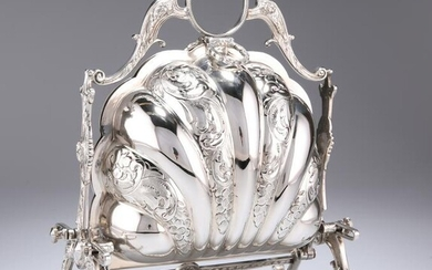 A VICTORIAN SILVER-PLATED MUFFIN DISH, folding