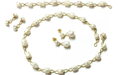 A gold freshwater pearl suite, by Tiffany & Co.