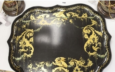 A large 19th century japanned papier mache tray, by B. Walto...
