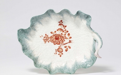 A large rare Meissen porcelain leaf bowl, possibly from the dinner service with the iron red mosaic borders