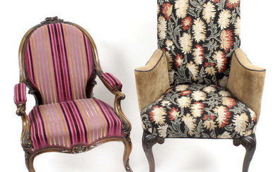 A late 19th century carved rosewood framed armchair, together with a reproduction Georgian style armchair.