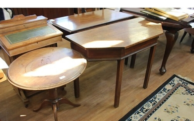 A mahogany side table, on square tapering legs, 107cm wide (...