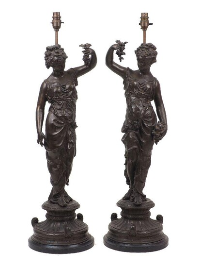 A pair of French spelter figural lamps, late 19th century, modelled as female bacchante, 70cm high (2)