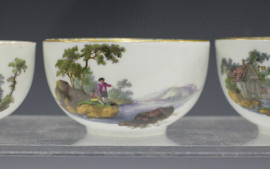 A pair of Meissen teabowls, Dot period, circa 1760-70, painted to the exterior with opposing landsca