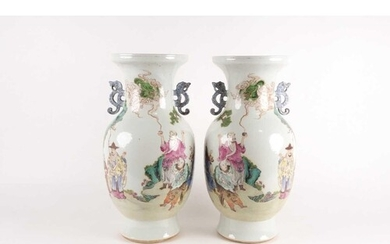 A pair of large Chinese Famille rose porcelain baluster vase...
