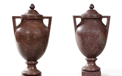 A red Egyptian porphyry vase and cover, late 18th century   Vase couvert en porphyre rouge d'Egypte, fin du XVIIIe siècle