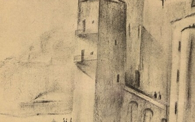 """Adolphe BEAUFRERE (1876-1960) """"Mediterranean Port"""" charcoal mbd 22x17.5"""