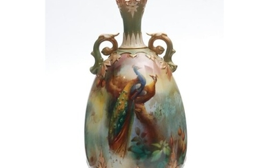 An early 20th Century Royal Worcester vase of gourd form wit...