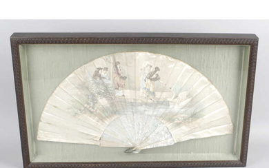An early 20th century ladies hand held folding silk & mother-of-pearl fan