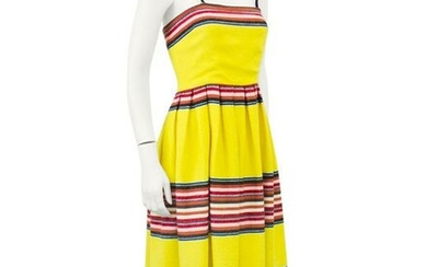 Anonymous Yellow Mexican Blanket Maxi Dress