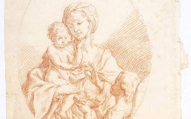 BOLOGNESE SCHOOL, 18th CENTURY Virgin with Child Sanguine on watermarked...