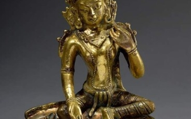 "Bronze figure ""Marichi on her mount"", front bez./sign., Tibet, h...."