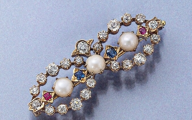 Brooch with diamonds, pearl and coloured stones, approx....