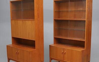 CABINETS / BOOK SHELVES, 2 pcs, around 1950 / 60s.