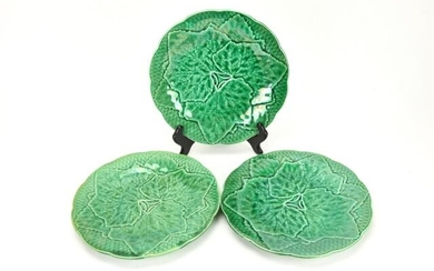 Collection Assorted Majolica Cabbage Leaf Plates