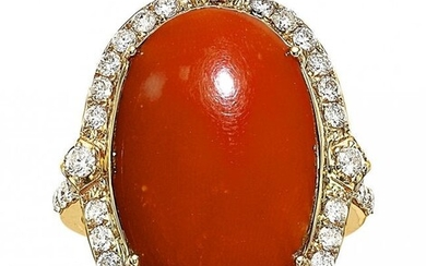 Coral, Diamond, Gold Ring Stones: Coral caboch
