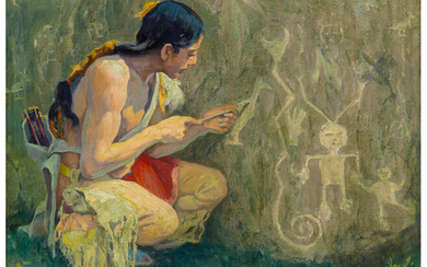 Eanger Irving Couse (1866-1936), The Pictographs (1919)