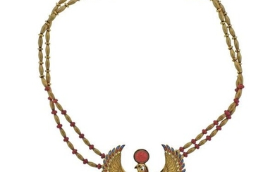Egyptian Revival Gold Coral Bird Brooch Pendant