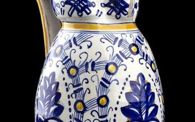 FRATELLI FANCIULLACCI Little white vase with blu and yellow decorations...