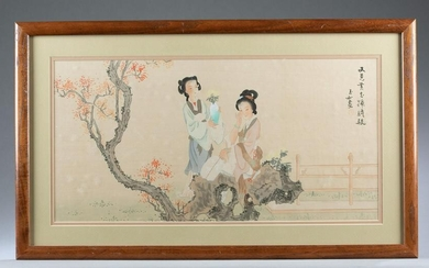Framed Chinese silk painting.