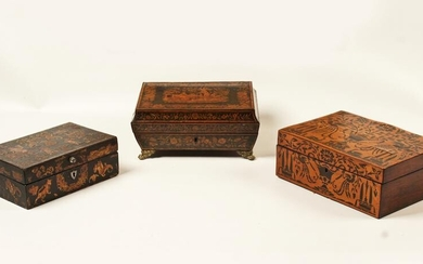 GROUP OF 3 MISC. ANTIQUE WOOD BOXES