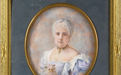 GUYNEMER FAMILY. Miniature portrait painted on ivory ? oval shape, signed Enjalric, bottom left dated 1898, representing Mrs. Guynemer, née Bowes-Lyons, cousin of Queen Elizabeth of England and grandmother of the Ace of Aces, the famous aviator...