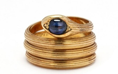 Gold and Sapphire Snake Ring, LaLaounis
