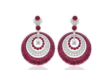Graff, A Pair of Ruby, Diamond, and Gold Earrings