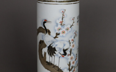 HAT STAND- China, porcelain, decor with a pair of cranes.