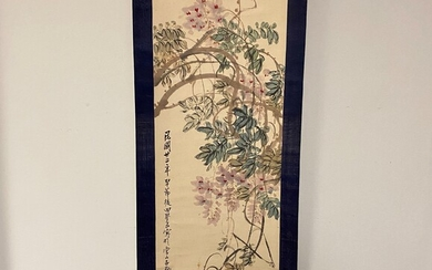 Hanging Scroll Depicting Wisteria Vines