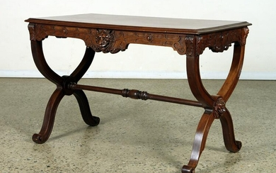 LATE VICTORIAN CARVED WALNUT LIBRARY TABLE