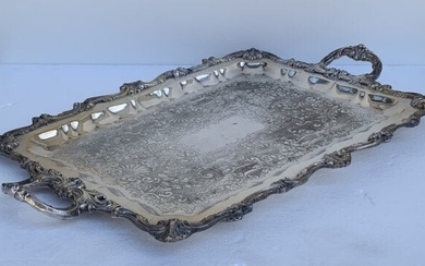Large Footed Tray marked Wallace, P 896