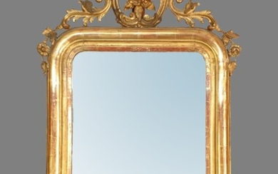 Louis Philippe style wood and stucco mirror with golden patina,...