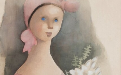 Madeleine Kula, known as LUKA (1894-1989)Young girl with a pink bonnetWatercolour.Signed lower left.52 x 40 cm