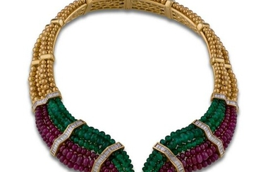 NECKLACE GOLD DIAMONDS EMERALDS RUBIES