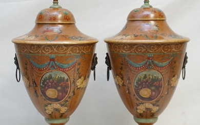 PAIR HAND PAINTED TOLE CHESTNUT URNS