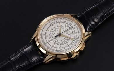 PATEK PHILIPPE, REF. 5975J, A LIMITED EDITION GOLD MULTI-SCALE CHRONOGRAPH WRISTWATCH MADE TO COMMEMORATE THE BRAND'S 175TH ANNIVERSARY