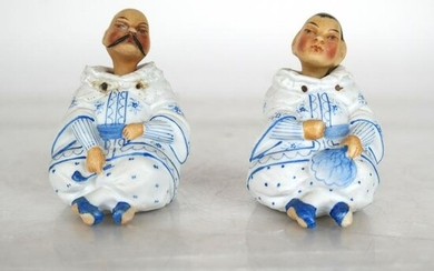 """Pair Chinese Painted """"Nodder"""" Porcelain Figures"""