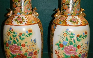 Pair Oriental Paint Decorated Palace Vases