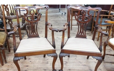 Pair mahogany Chippendale style carver chairs on ball and cl...