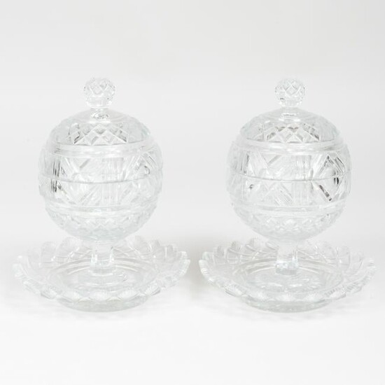 Pair of Cut Glass Sweetmeat Dishes, Covers and