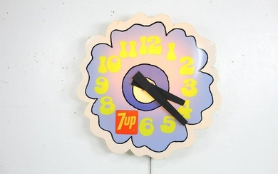 """Peter Max 7Up Flower Power 1970s Lighted Wall Clock,36"""""""