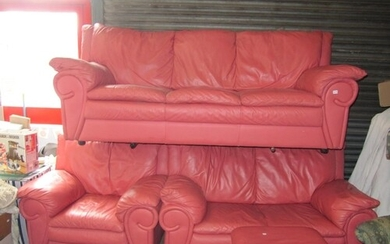 Pink Leather Three Seater Sofa with Two Matching Arm Chairs ...