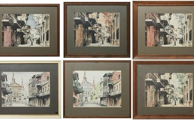 Richard Hoffman (-1973, New Orleans), Six Hand Colored