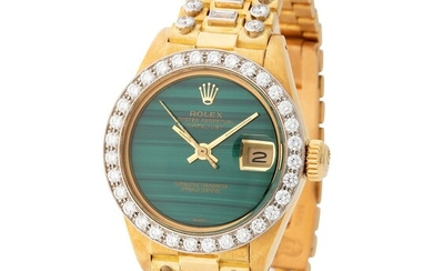 """Rolex. Charismatic and Colorful """"Octopus"""" Datejust Automatic Wristwatch in Yellow Gold, reference 6913/8, With Malachite Dial, Diamond-set Bezel, Original Paper and Additional Dial"""