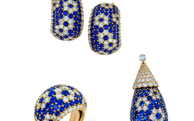 SAPPHIRE AND DIAMOND PENDANT, EARRING AND RING SUITE, VAN CLEEF & ARPELS