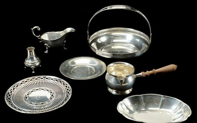 Six Sterling Serving Pieces with One Plated Piece.