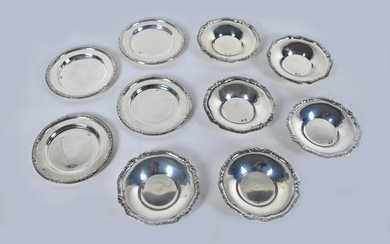 TWO SETS OF CONTINENTAL SILVER NUT DISHES